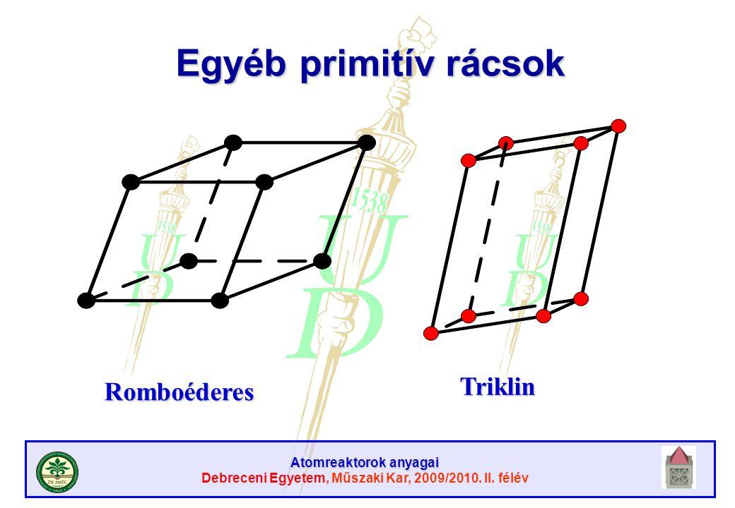 Atomreaktorok anyagai Debreceni Egyetem, Műszaki Kar, 2009/2010. II. félév Egyéb primitív rácsok Romboéderes Triklin