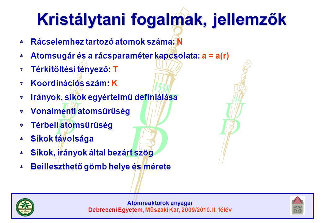 Atomreaktorok anyagai Debreceni Egyetem, Műszaki Kar, 2009/2010. II. félév Kristálytani fogalmak, jellemzők  Rácselemhez tartozó atomok száma: N  At