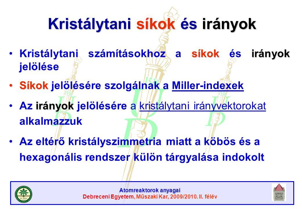 Atomreaktorok anyagai Debreceni Egyetem, Műszaki Kar, 2009/2010. II. félév Kristálytani síkok és irányok síkokirányokKristálytani számításokhoz a síko