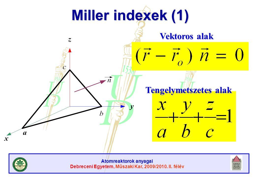 Atomreaktorok anyagai Debreceni Egyetem, Műszaki Kar, 2009/2010. II. félév Miller indexek (1) Vektoros alak Tengelymetszetes alak