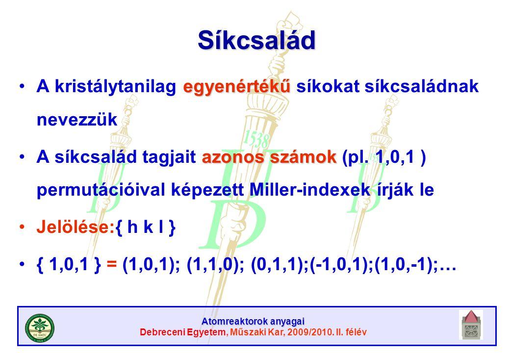 Atomreaktorok anyagai Debreceni Egyetem, Műszaki Kar, 2009/2010. II. félév Síkcsalád egyenértékűA kristálytanilag egyenértékű síkokat síkcsaládnak nev