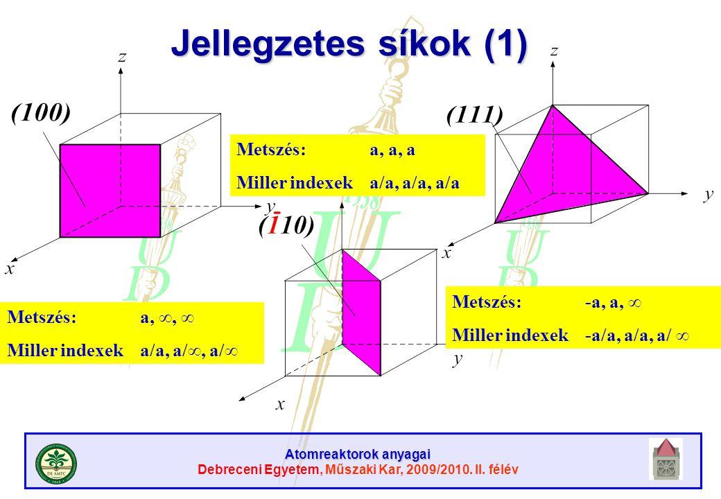 Atomreaktorok anyagai Debreceni Egyetem, Műszaki Kar, 2009/2010. II. félév Jellegzetes síkok (1) Metszés: a, ∞, ∞ Miller indexeka/a, a/∞, a/∞ Metszés: