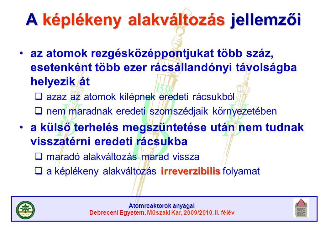 Atomreaktorok anyagai Debreceni Egyetem, Műszaki Kar, 2009/2010. II. félév A képlékeny alakváltozás jellemzői az atomok rezgésközéppontjukat több száz