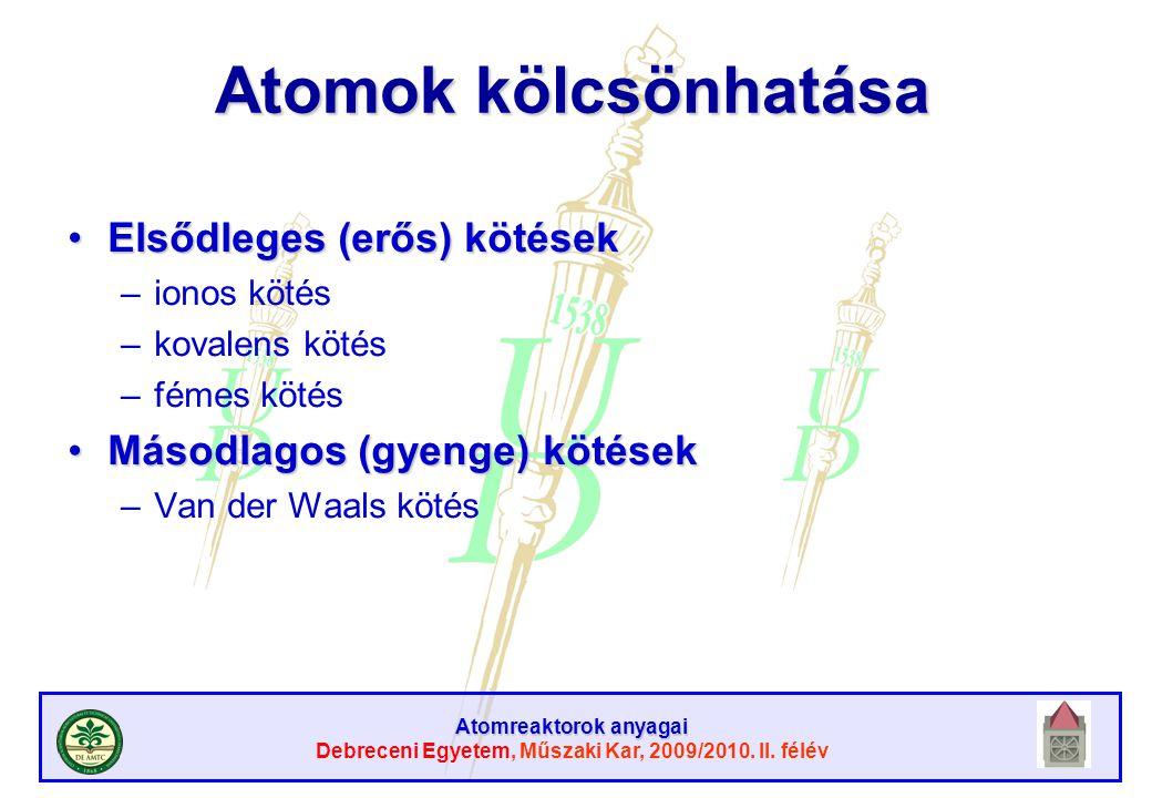 Atomreaktorok anyagai Debreceni Egyetem, Műszaki Kar, 2009/2010. II. félév Atomok kölcsönhatása Elsődleges (erős) kötésekElsődleges (erős) kötések –io