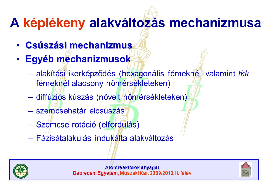 Atomreaktorok anyagai Debreceni Egyetem, Műszaki Kar, 2009/2010. II. félév A képlékeny alakváltozás mechanizmusa Csúszási mechanizmusCsúszási mechaniz