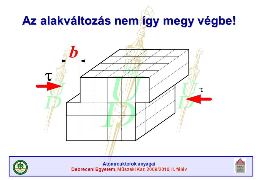 Atomreaktorok anyagai Debreceni Egyetem, Műszaki Kar, 2009/2010. II. félév Az alakváltozás nem így megy végbe!