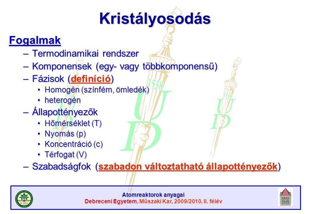 Atomreaktorok anyagai Debreceni Egyetem, Műszaki Kar, 2009/2010. II. félévKristályosodásFogalmak –Termodinamikai rendszer –Komponensek (egy- vagy több