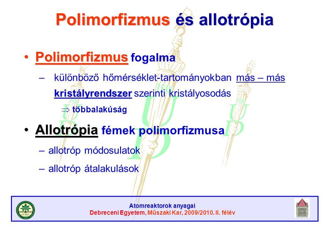 Atomreaktorok anyagai Debreceni Egyetem, Műszaki Kar, 2009/2010. II. félév Polimorfizmus és allotrópia PolimorfizmusPolimorfizmus fogalma kristályrend