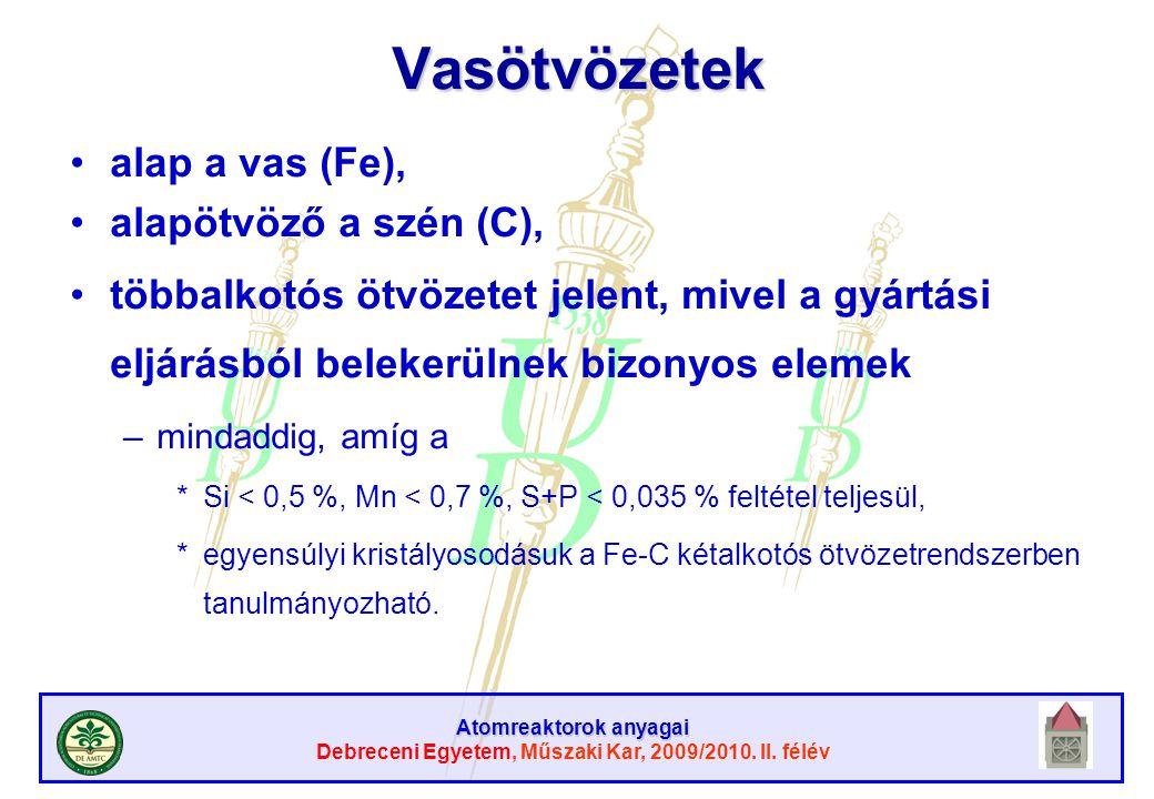 Atomreaktorok anyagai Debreceni Egyetem, Műszaki Kar, 2009/2010. II. félévVasötvözetek alap a vas (Fe), alapötvöző a szén (C), többalkotós ötvözetet j
