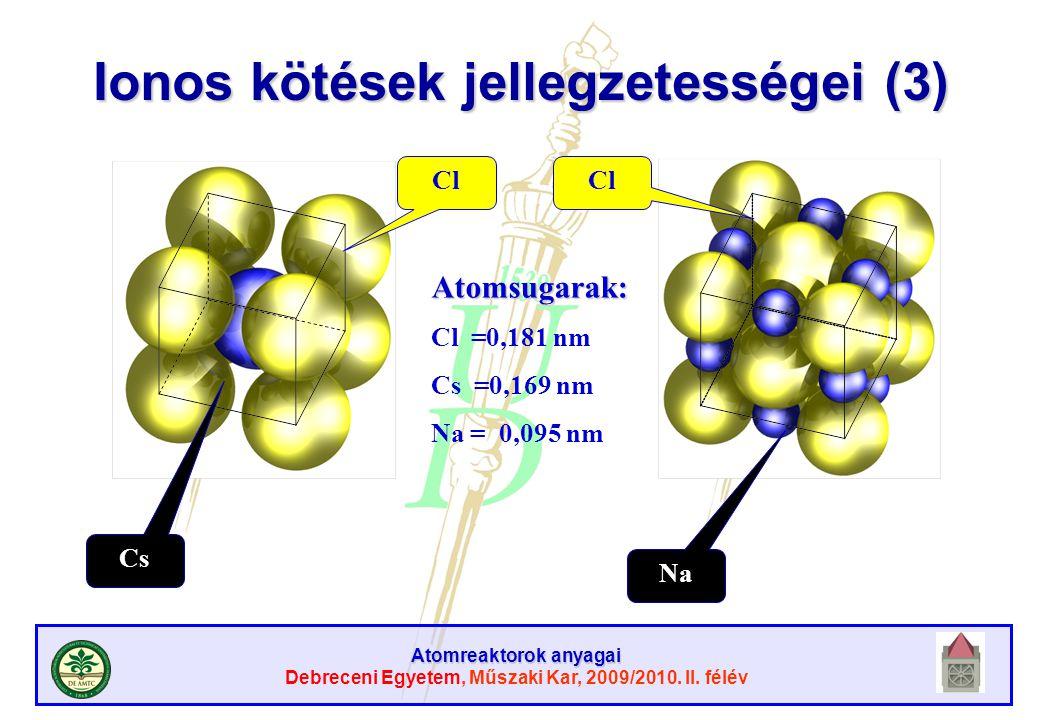 Atomreaktorok anyagai Debreceni Egyetem, Műszaki Kar, 2009/2010. II. félév Cl Cs Na Atomsugarak: Cl =0,181 nm Cs =0,169 nm Na = 0,095 nm Ionos kötések