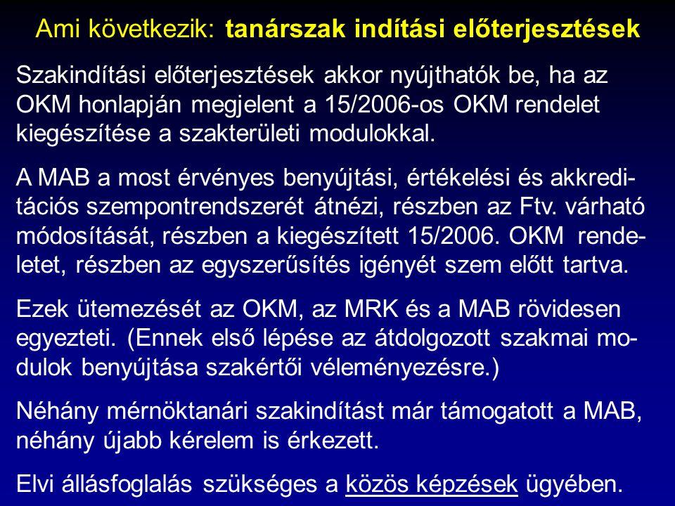 Ami következik: tanárszak indítási előterjesztések Szakindítási előterjesztések akkor nyújthatók be, ha az OKM honlapján megjelent a 15/2006-os OKM re