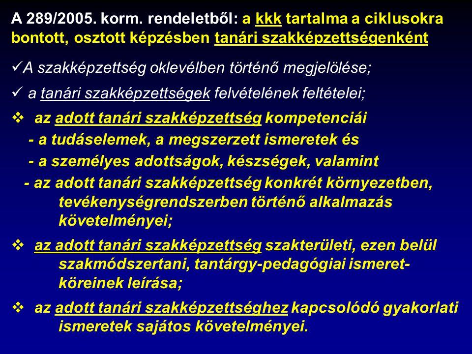 A 289/2005. korm. rendeletből: a kkk tartalma a ciklusokra bontott, osztott képzésben tanári szakképzettségenként A szakképzettség oklevélben történő