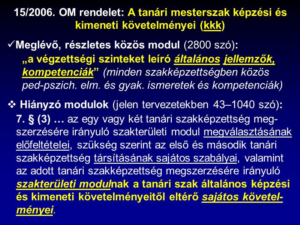 """15/2006. OM rendelet: A tanári mesterszak képzési és kimeneti követelményei (kkk) Meglévő, részletes közös modul (2800 szó): """"a végzettségi szinteket"""