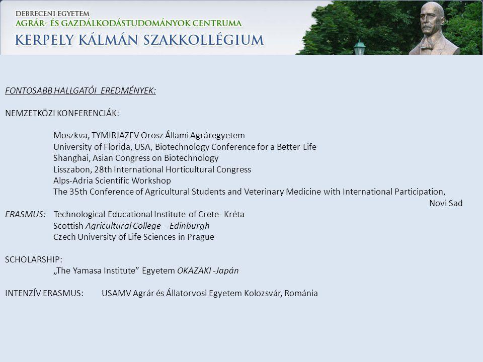 FONTOSABB HALLGATÓI EREDMÉNYEK: NEMZETKÖZI KONFERENCIÁK: Moszkva, TYMIRJAZEV Orosz Állami Agráregyetem University of Florida, USA, Biotechnology Confe