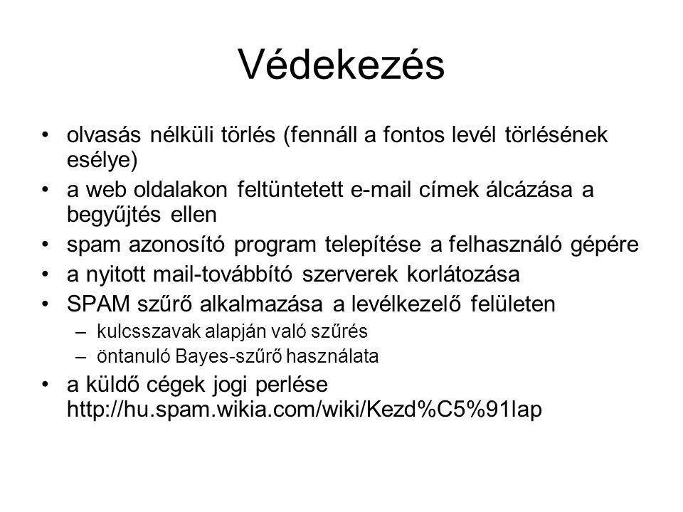Védekezés olvasás nélküli törlés (fennáll a fontos levél törlésének esélye) a web oldalakon feltüntetett e-mail címek álcázása a begyűjtés ellen spam