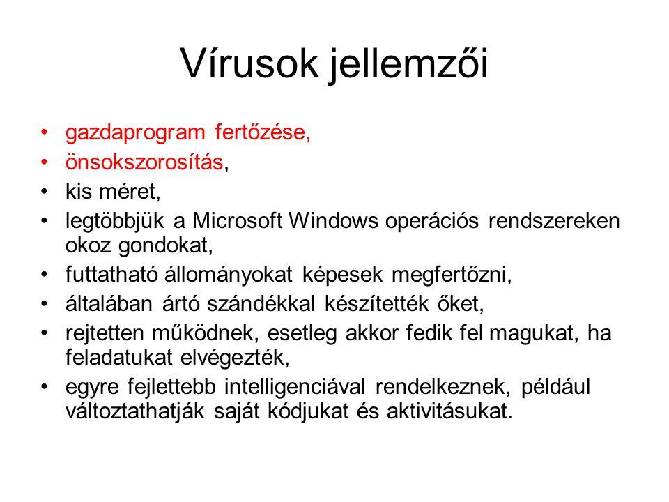 Típusaik EXE-COM vírusok (Jerusalem, Friday 13) BOOT-vírusok (brain, 1986) MR-vírusok Makró vírusok New Exe vírusok Multi platform vírusok Önátíró (polimorf) vírusok E-mail vírusok zenefájl vírusok