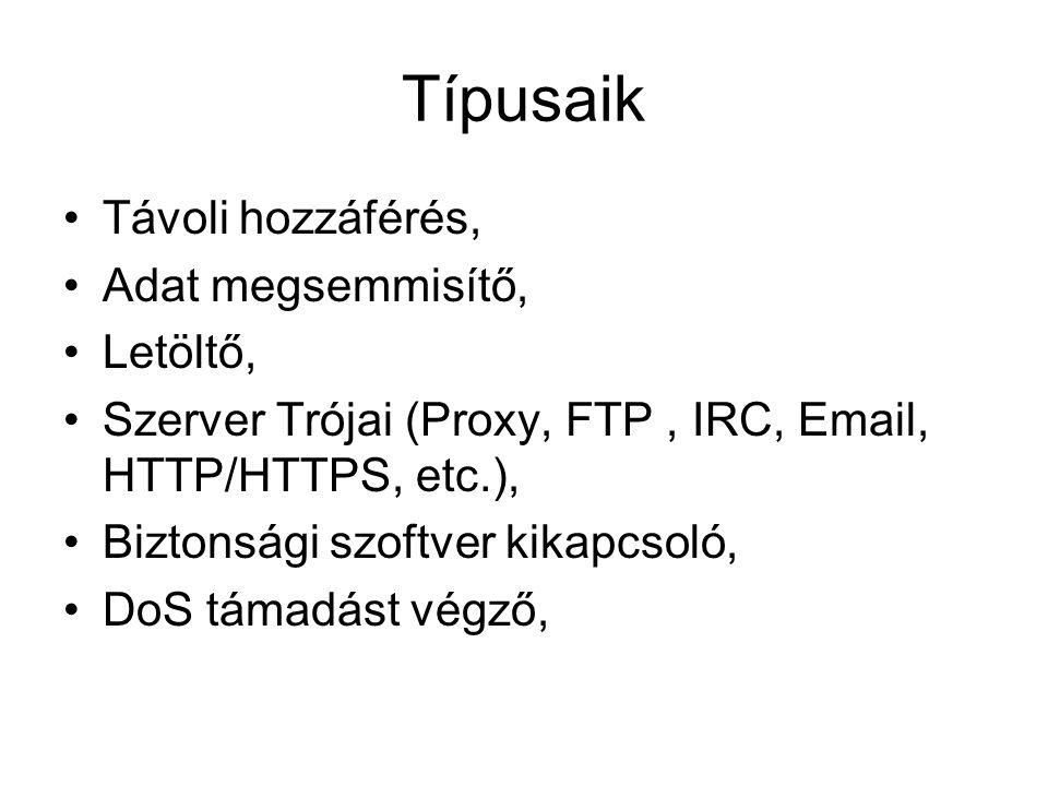 Típusaik Távoli hozzáférés, Adat megsemmisítő, Letöltő, Szerver Trójai (Proxy, FTP, IRC, Email, HTTP/HTTPS, etc.), Biztonsági szoftver kikapcsoló, DoS