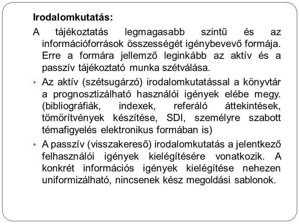 A tájékoztatási apparátus fogalma, elemei, rendszere Tájékoztatás, információforrások 3. előadás