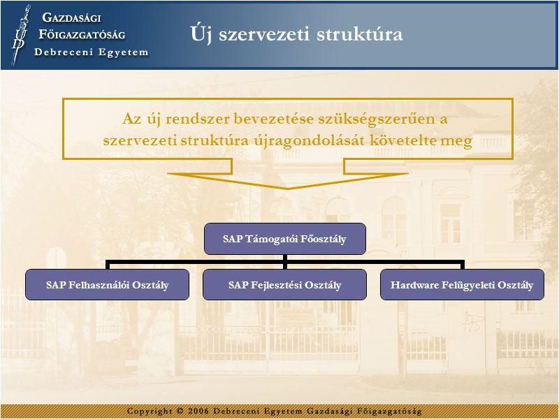 Az új rendszer bevezetése szükségszerűen a szervezeti struktúra újragondolását követelte meg Új szervezeti struktúra SAP Támogatói Főosztály SAP Felha