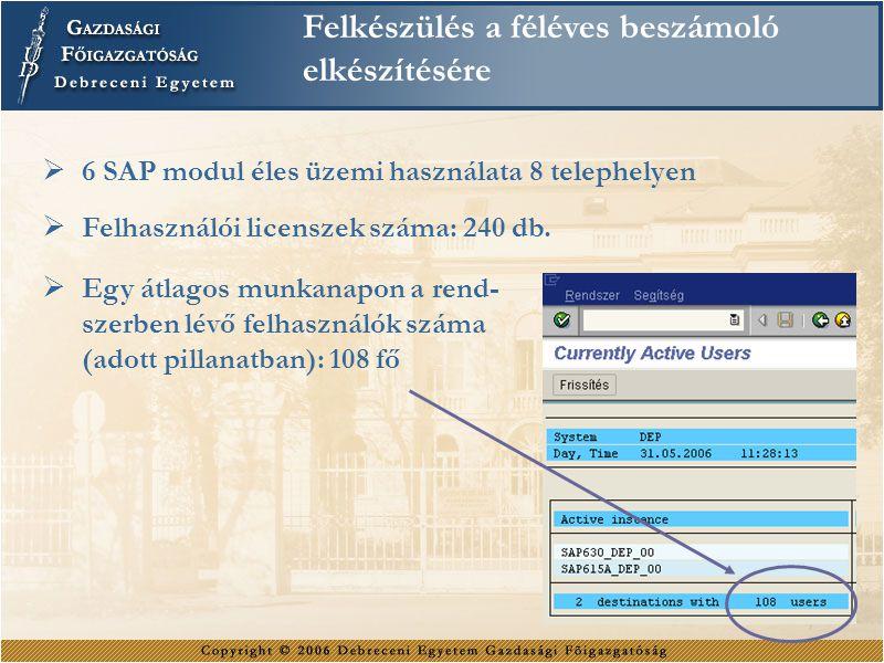 Felkészülés a féléves beszámoló elkészítésére  6 SAP modul éles üzemi használata 8 telephelyen  Felhasználói licenszek száma: 240 db.  Egy átlagos