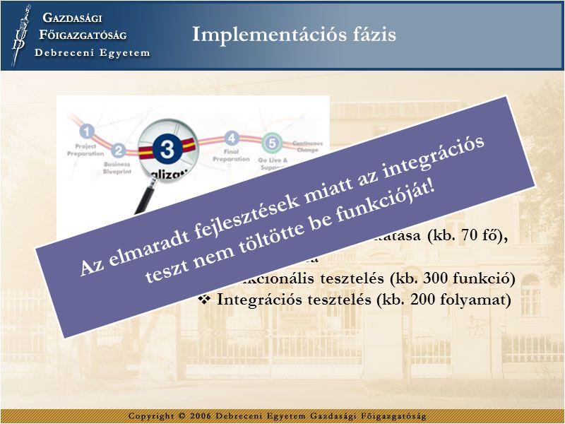  Kulcsfelhasználók oktatása (kb. 70 fő), vizsgáztatása  Funkcionális tesztelés (kb. 300 funkció)  Integrációs tesztelés (kb. 200 folyamat) Implemen