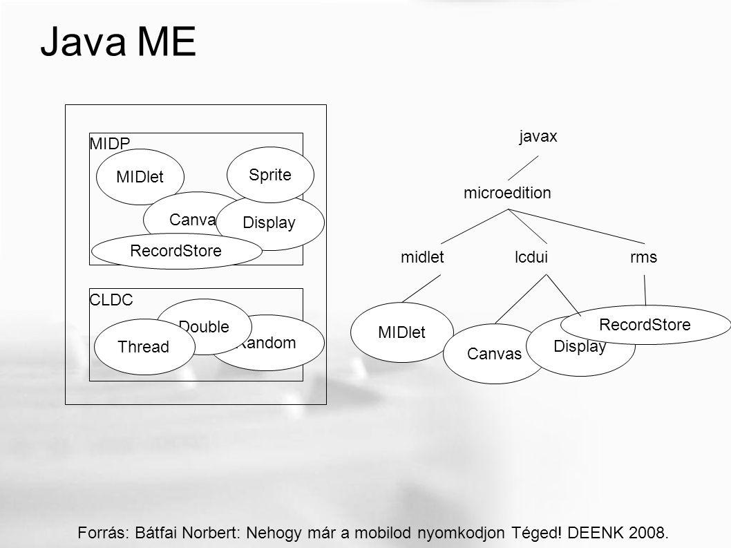 Java ME MIDlet MIDP CLDC Canvas Display Random Double Sprite RecordStore Thread Forrás: Bátfai Norbert: Nehogy már a mobilod nyomkodjon Téged.