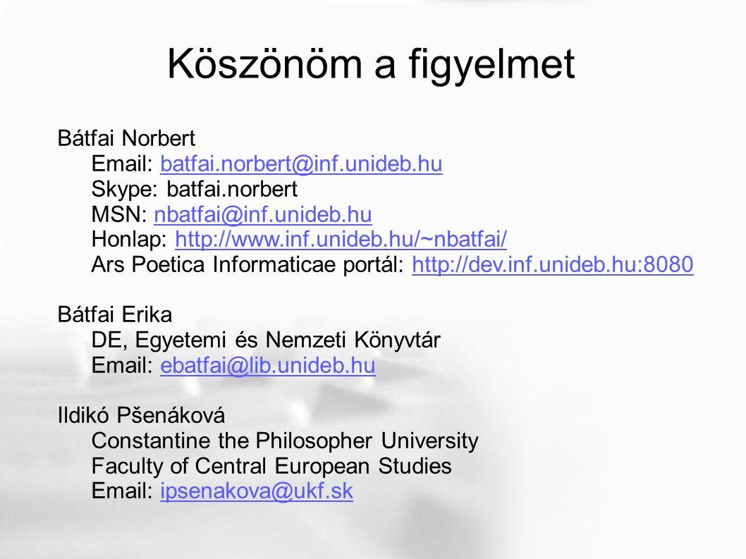 Köszönöm a figyelmet Bátfai Norbert Email: batfai.norbert@inf.unideb.hubatfai.norbert@inf.unideb.hu Skype: batfai.norbert MSN: nbatfai@inf.unideb.hunbatfai@inf.unideb.hu Honlap: http://www.inf.unideb.hu/~nbatfai/http://www.inf.unideb.hu/~nbatfai/ Ars Poetica Informaticae portál: http://dev.inf.unideb.hu:8080http://dev.inf.unideb.hu:8080 Bátfai Erika DE, Egyetemi és Nemzeti Könyvtár Email: ebatfai@lib.unideb.huebatfai@lib.unideb.hu Ildikó Pšenáková Constantine the Philosopher University Faculty of Central European Studies Email: ipsenakova@ukf.skipsenakova@ukf.sk