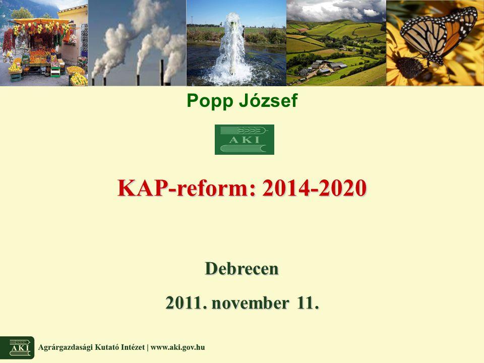 Közvetlen támogatások (2) Cross compliance Egyszerűsített – Klímaváltozás Vagy Alaptámogatás Aktív gazdálkodó Új támogatási jogcím 2014-től Nemzeti vagy regionális átalánytámogatás/jogosult ha Fenntartható ökoszisztéma támogatása Vetésváltás Állandó legelőterület Ökológiai célú terület Közvetlen támogatási boríték 30%-a Fiatal gazdák támogatása Aktív gazda < 40 év 5 évig Közvetlen támogatási boríték maximum 2%-a Kisgazdaság támogatása Támogatási jogosultság és ellenőrzés egyszerűsítése Tagország által meghatározott átalánytámogatás előírt feltételek függvényében 2014-től kezdődően Közvetlen támogatási boríték maximum 10%-a Termeléshez kapcsolt tám.