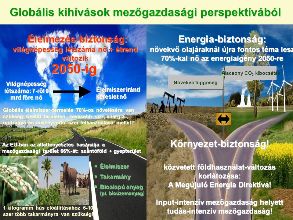 Növekvő kereslet 70%-kal 2050-re (IEA) Energia Víz Növekvő kereslet 100%-kal 2050-re (IMWI)Élelem Növekvő kereslet 70%-kal 2050-re (FAO) Klíma- változás Klímaváltozás: élelmiszer-, energia- és vízbiztonság összefüggése Biodiverzitás 1.Tudjuk-e biztosítani 9 milliárd fő egészséges és fenntartható élelmiszerellátását változó étrend mellett.