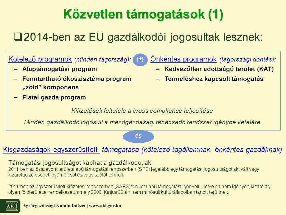 Közvetlen támogatások (1)  2014-ben az EU gazdálkodói jogosultak lesznek: és Kötelező programok (minden tagország): –Alaptámogatási program –Fenntart