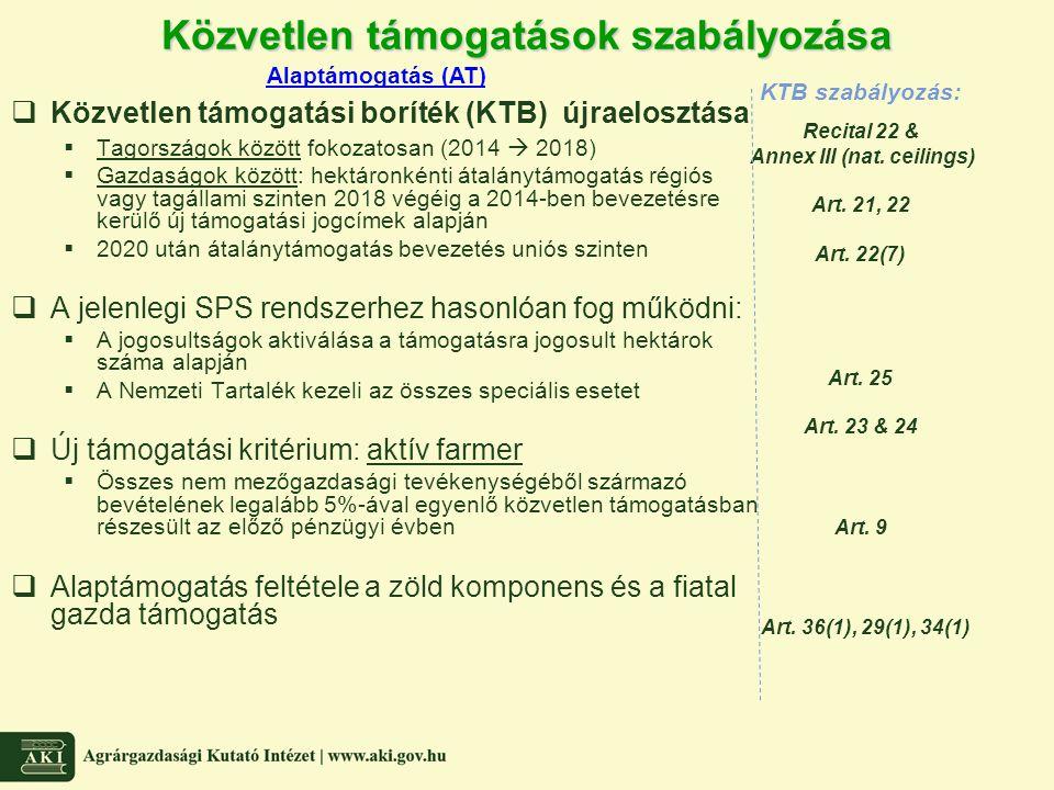 Közvetlen támogatások szabályozása  Közvetlen támogatási boríték (KTB) újraelosztása  Tagországok között fokozatosan (2014  2018)  Gazdaságok közö