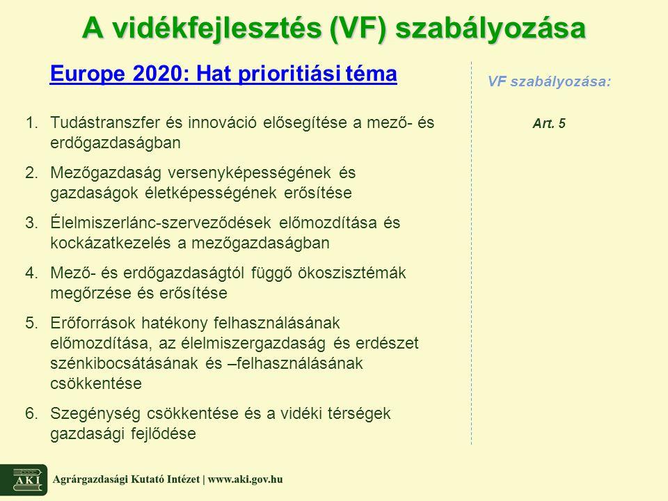 A vidékfejlesztés (VF) szabályozása Europe 2020: Hat prioritiási téma VF szabályozása: Art. 5 1.Tudástranszfer és innováció elősegítése a mező- és erd