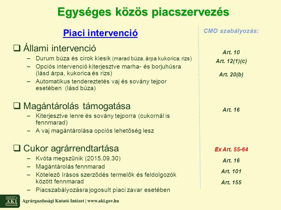 Egységes közös piacszervezés  Állami intervenció –Durum búza és cirok kiesik (marad búza, árpa kukorica, rizs) –Opciós intervenció kiterjesztve marha