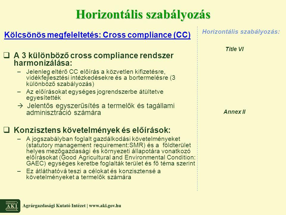  A 3 különböző cross compliance rendszer harmonizálása: –Jelenleg eltérő CC előírás a közvetlen kifizetésre, vidékfejlesztési intézkedésekre és a bor