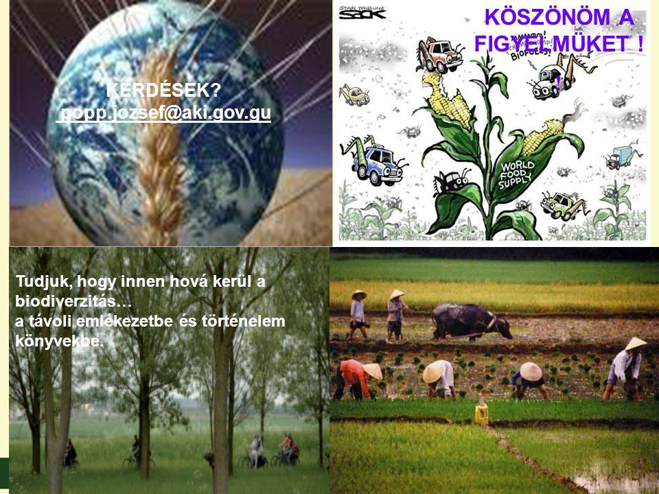 KÖSZÖNÖM A FIGYELMÜKET !! Tudjuk, hogy innen hová kerül a biodiverzitás… a távoli emlékezetbe és történelem könyvekbe. KÉRDÉSEK? popp.jozsef@aki.gov.g