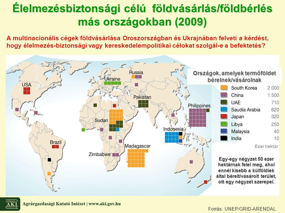 Forrás: UNEP/GRID-ARENDAL Élelmezésbiztonsági célú földvásárlás/földbérlés más országokban (2009) Országok, amelyek termőföldet bérelnek/vásárolnak Ez