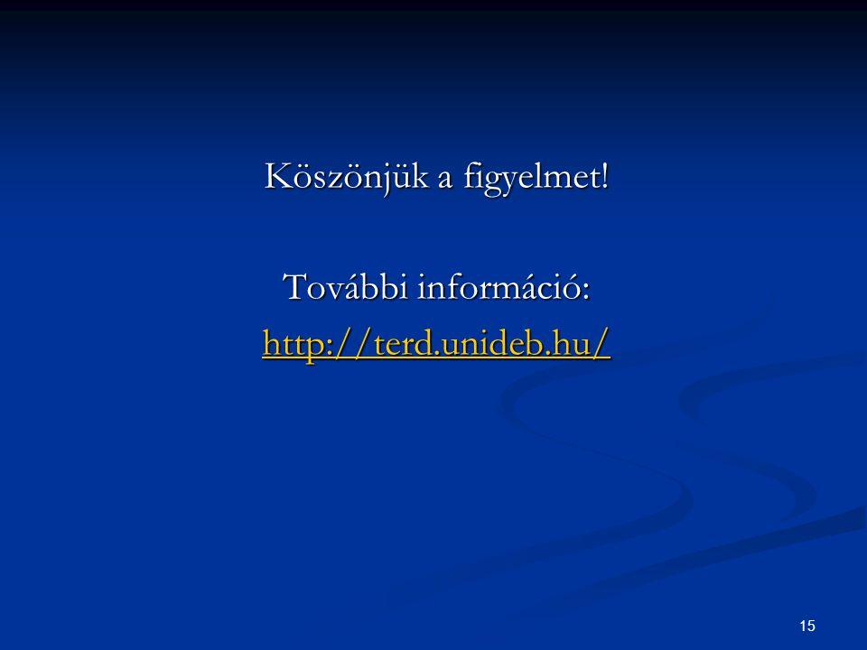 15 Köszönjük a figyelmet! További információ: http://terd.unideb.hu/