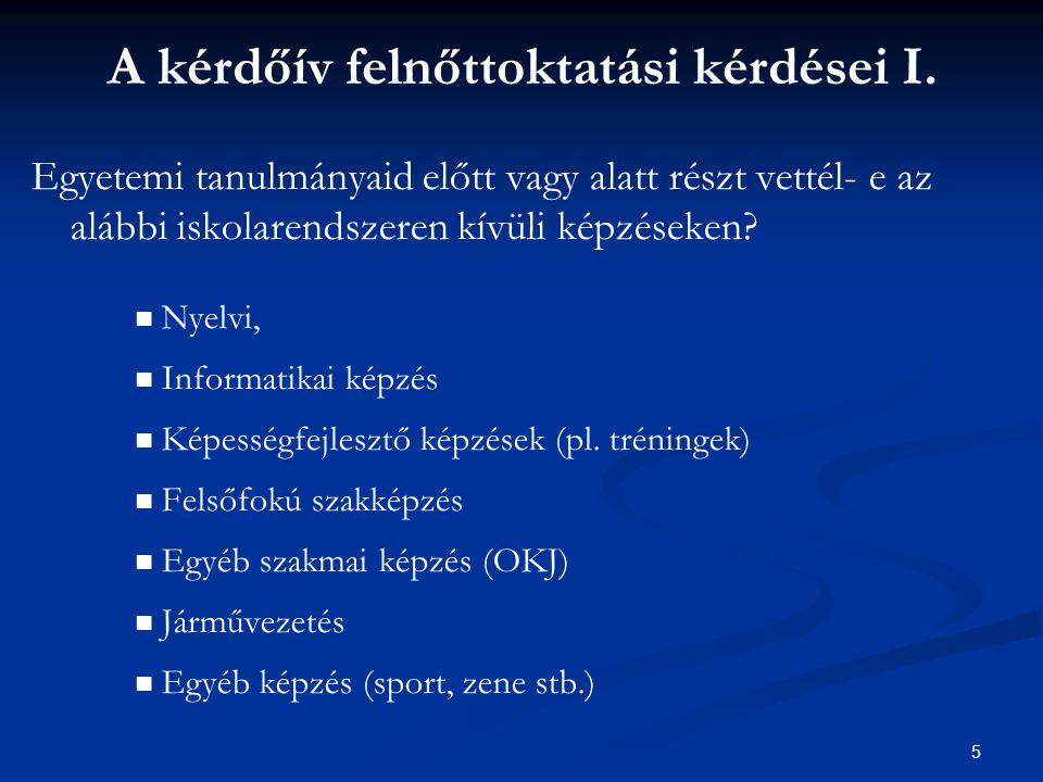 5 A kérdőív felnőttoktatási kérdései I.