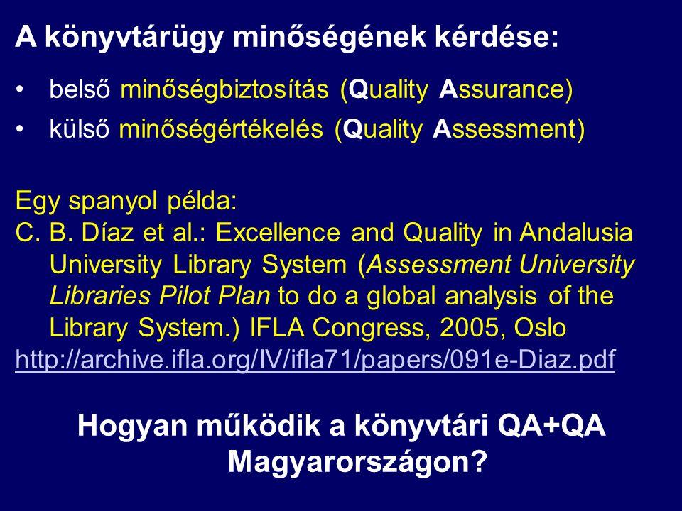 A könyvtárügy minőségének kérdése: belső minőségbiztosítás (Quality Assurance) külső minőségértékelés (Quality Assessment) Egy spanyol példa: C.