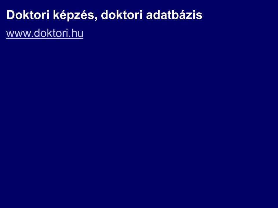 Doktori képzés, doktori adatbázis www.doktori.hu