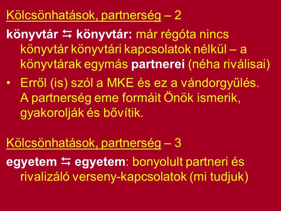 Kölcsönhatások, partnerség – 2 könyvtár  könyvtár: már régóta nincs könyvtár könyvtári kapcsolatok nélkül – a könyvtárak egymás partnerei (néha riválisai) Erről (is) szól a MKE és ez a vándorgyűlés.