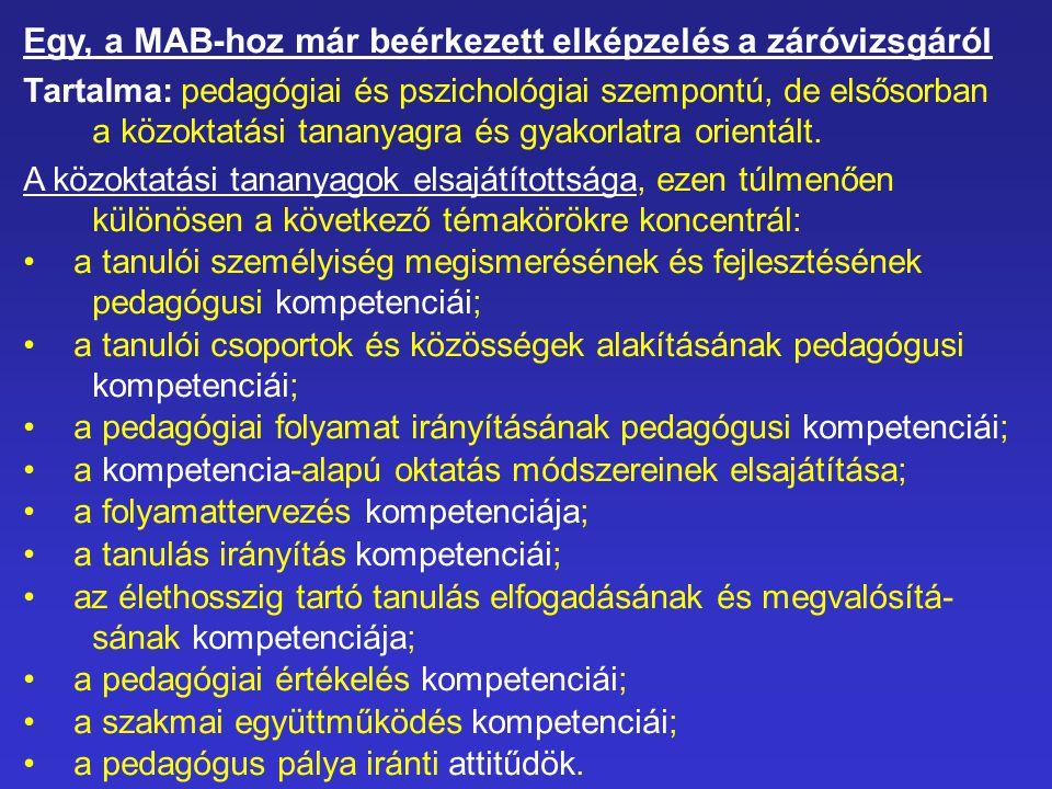 Egy, a MAB-hoz már beérkezett elképzelés a záróvizsgáról Tartalma: pedagógiai és pszichológiai szempontú, de elsősorban a közoktatási tananyagra és gy
