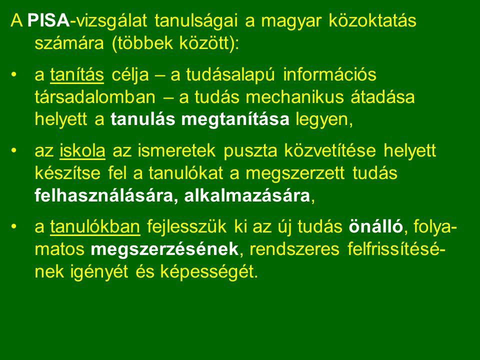 A PISA-vizsgálat tanulságai a magyar közoktatás számára (többek között): a tanítás célja – a tudásalapú információs társadalomban – a tudás mechanikus átadása helyett a tanulás megtanítása legyen, az iskola az ismeretek puszta közvetítése helyett készítse fel a tanulókat a megszerzett tudás felhasználására, alkalmazására, a tanulókban fejlesszük ki az új tudás önálló, folya- matos megszerzésének, rendszeres felfrissítésé- nek igényét és képességét.