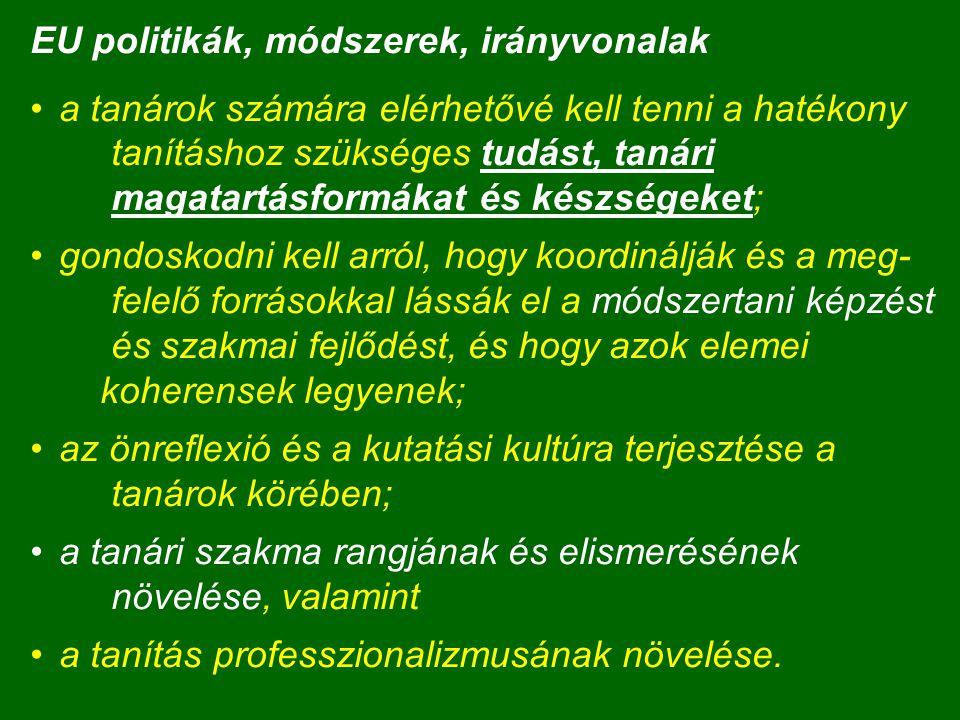EU politikák, módszerek, irányvonalak a tanárok számára elérhetővé kell tenni a hatékony tanításhoz szükséges tudást, tanári magatartásformákat és kés