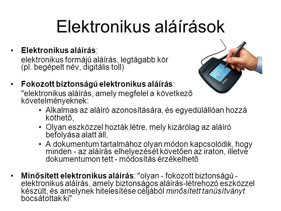Elektronikus aláírások Elektronikus aláírás: elektronikus formájú aláírás, legtágabb kör (pl.