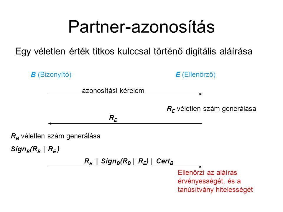 Partner-azonosítás Egy véletlen érték titkos kulccsal történő digitális aláírása B (Bizonyító) E (Ellenőrző) azonosítási kérelem R E véletlen szám generálása RERE R B véletlen szám generálása Sign B (R B || R E ) R B || Sign B (R B || R E ) || Cert B Ellenőrzi az aláírás érvényességét, és a tanúsítvány hitelességét