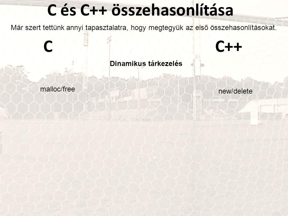 C és C++ összehasonlítása Már szert tettünk annyi tapasztalatra, hogy megtegyük az első összehasonlításokat.