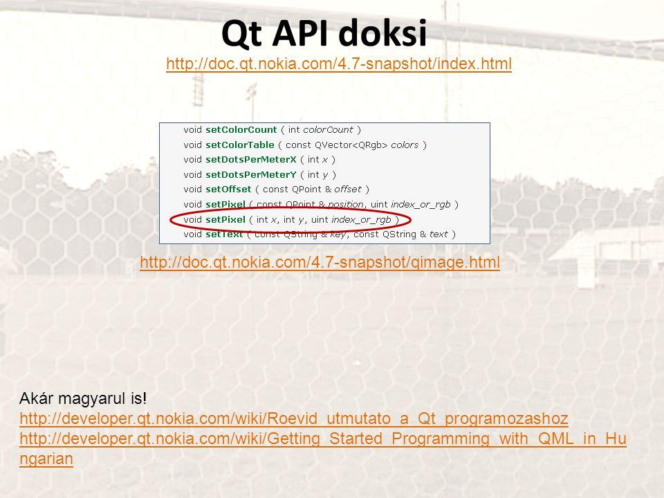 Qt API doksi http://doc.qt.nokia.com/4.7-snapshot/index.html http://doc.qt.nokia.com/4.7-snapshot/qimage.html Akár magyarul is.