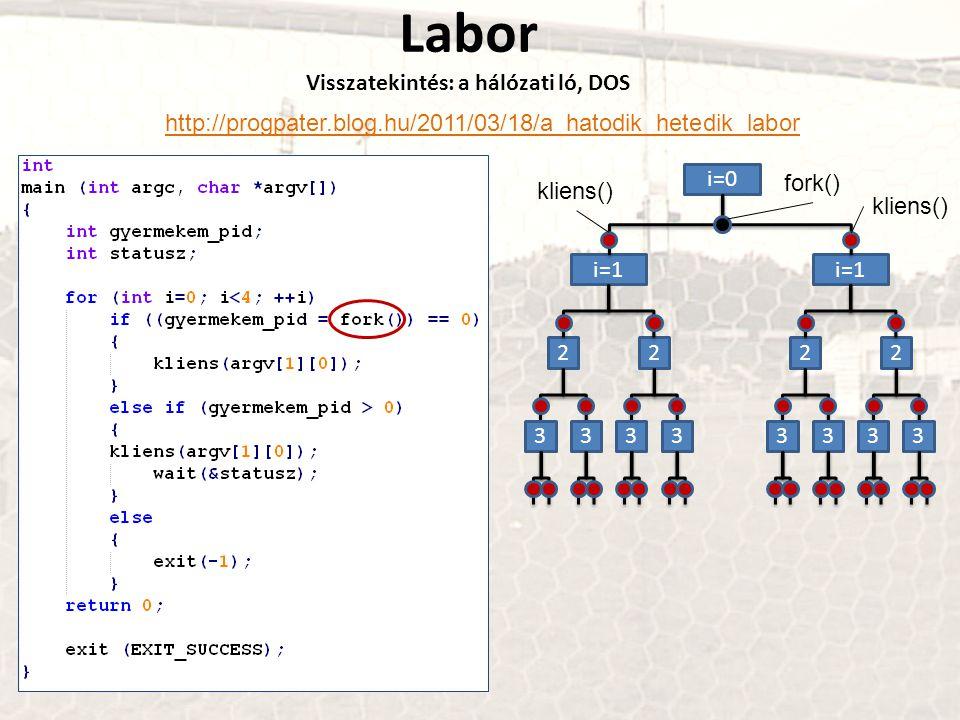 Labor Visszatekintés: a hálózati ló, DOS http://progpater.blog.hu/2011/03/18/a_hatodik_hetedik_labor i=0 i=1 fork() kliens() 2222 33333333