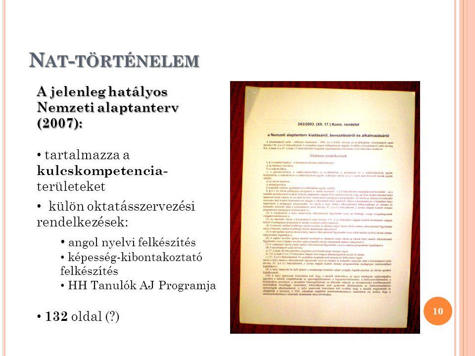 N AT - TÖRTÉNELEM 10 A jelenleg hatályos Nemzeti alaptanterv (2007): tartalmazza a kulcskompetencia- területeket külön oktatásszervezési rendelkezések